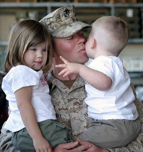 Soldier Dad with Two Kids